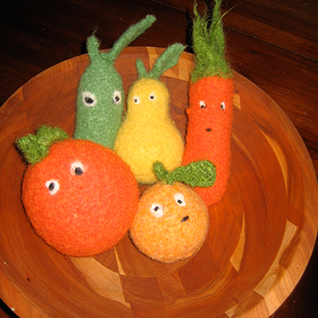 felted fruit baby rattles