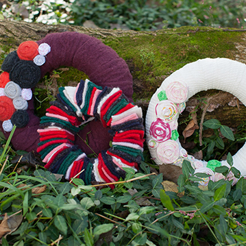 vintage fabric wreaths